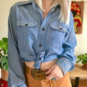 """Vintage 70s embroidered chambray shirt unisex 40"""""""